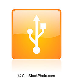 usb orange square glossy web icon