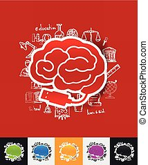usb paper sticker with hand drawn elements