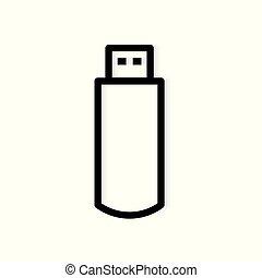 USB pen drive flash memory icon- vector illustration