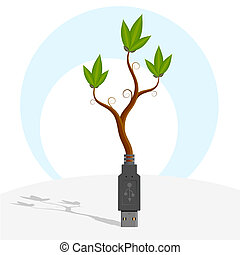USB-plant. - Vector illustration - green plant growing out...