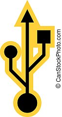 Use it in all your designs. USB port symbol Universal Serial Bus sign. Quick and easy recolorable shape. Vector illustration a graphic element