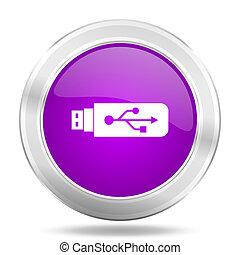 usb round glossy pink silver metallic icon, modern design web element
