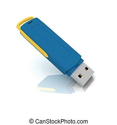 USB storage drive isolated on whit - USB storage drive...