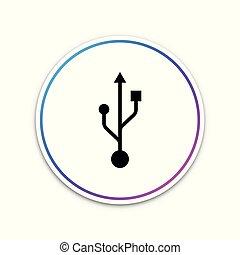 USB symbol icon isolated on white background. Circle white button. Vector Illustration