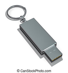 USB Thumb Drive Isolated on a White Background. 3D