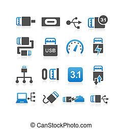 USB type C icon set - USB 3.1 type C icon set - Simplicity...