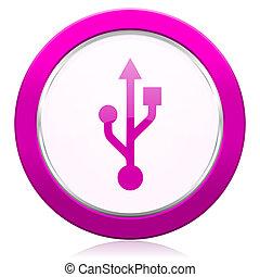usb violet icon flash memory sign