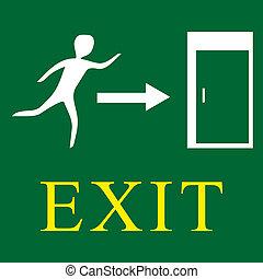 uscita, -, verde, segnale emergenza