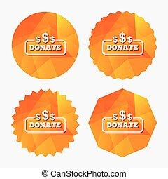 usd, dólar, símbolo., sinal, icon., doar