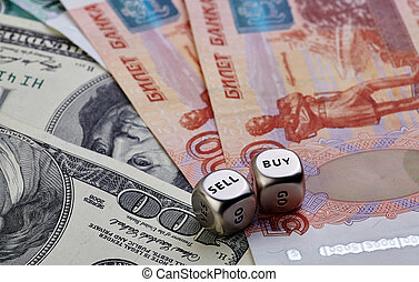 USD RUB banknotes, dices cubes