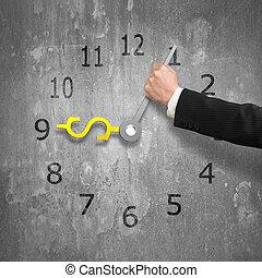 usd, vieux, horloge, argent, mur, main, béton, forme, tenant...
