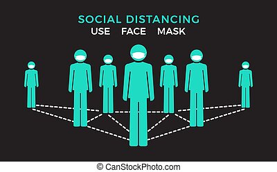 Use face mask. Social distancing concept. Group of human ...