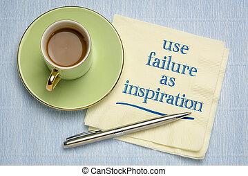 use failure as inspiration writing on napkin