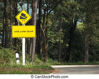 use low gear traffic signs