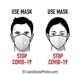 Use mask antivirus propaganda - Man and woman with medical ...
