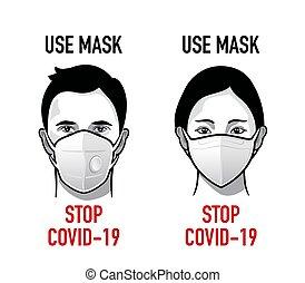 Use mask antivirus propaganda - Man and woman with medical ...