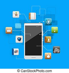 mobile device with a set of flat icons - use of cloud...