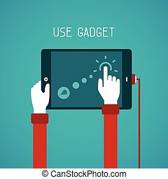 Use of digital gadget vector concept in flat style