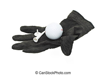 Used and worn piece of black golf glove