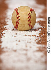 Used Baseball on the Chalk Line
