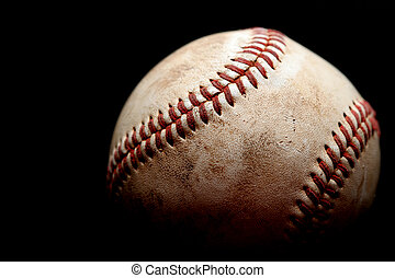 used baseball over black - used baseball macro over black,...