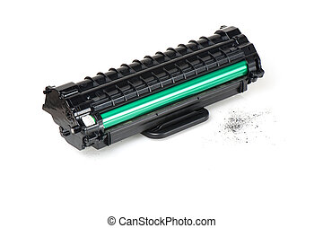 cartridge - used black cartridge for laser printer isolated ...