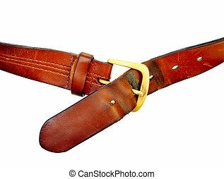used broun leather belt, isolated on white background