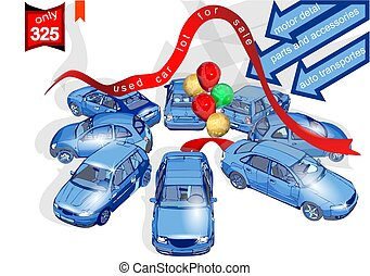 used car lot for sale. cars and multicolor balloons