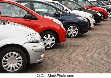 Used car sales - row of different european marques of used...