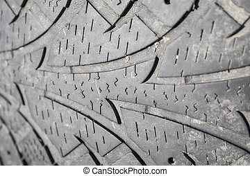 used car tire, texture and tread pattern