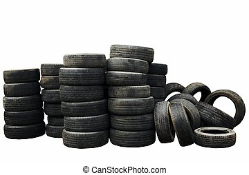 Used car tires isolated on white background