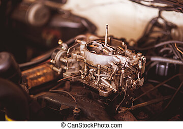 Used carburetor from the fuel supply system of gasoline engine