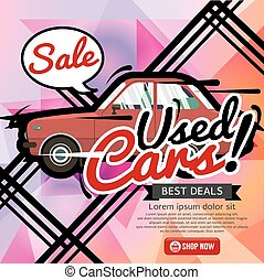 Used Cars Sale Banner Vector