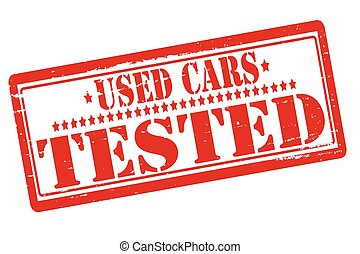 Rubber stamps with text used cars tested inside, vector illustration
