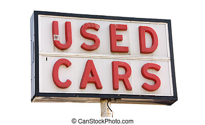 Used Cars - This is a picture of an old used cars sign with...