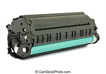 Used cartridge for laser printer isolated on white ...
