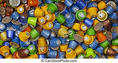 Used coffee capsules. Panoramic image directly above.