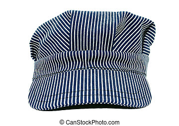 Used Conductors Hat - Blue and white striped conductors hat....