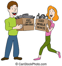 Used Electronics - An image of a people holding boxes of...
