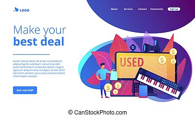 Old portable gadgets sell and buy. Used electronics trading, second hand device purchasing, used electronics market, make your best deal concept. Website homepage landing web page template.