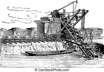 Used excavator digging the new bed of the Danube, vintage...