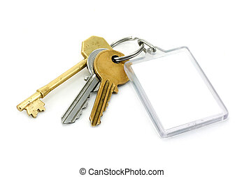 A set of house keys with clear plastic Key tab with copy space for adding of text message or estate agents company logo and details.