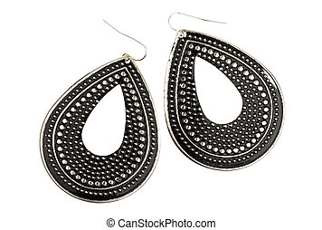 Used large black earrings on a white background