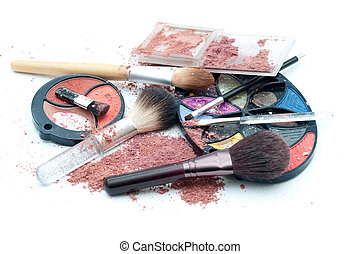 Used makeup isolated on white