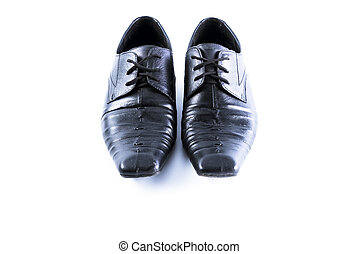 Used men shoes on white background