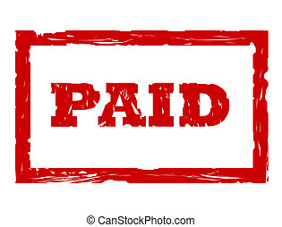 Used paid stamp - Used red paid stamp isolated on white...
