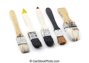 used paint brush isolated on white background