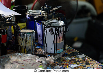 used Paint can in garage