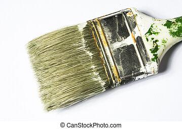 used paintbrush isolated on white background