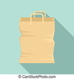 Used paper bag icon, flat style